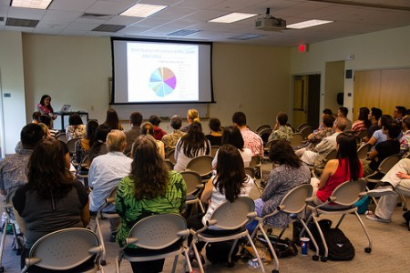 Shows the symposiums in the Medical Education Building at JABSOM had a nice turnout.