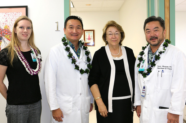 Four doctors standing next to each other, Woodruff, Mikami, Blanchette, and Murayama